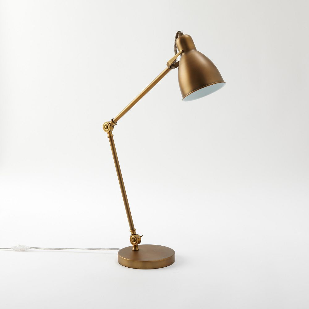 Industrial Task Table Lamps In Antique Bronze Also Ordered In AB And Black  Combo) X Iron. Adjustable Arm Locks At Two Angles. Head Has Tension Swivel  To ...