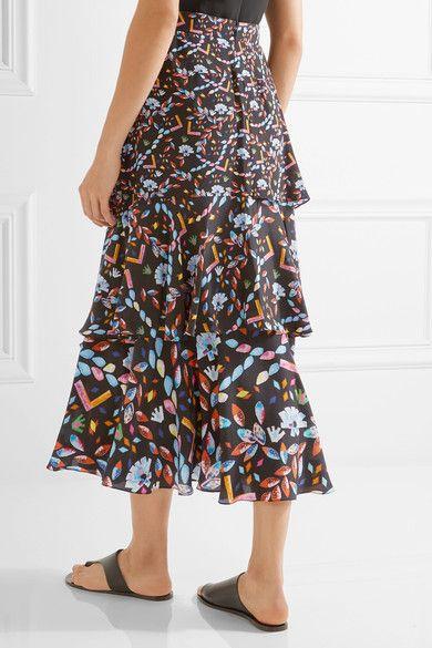 Peter Pilotto - Tiered printed silk midi skirt