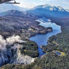 Bird's eye view of Turner Lake which empties into Hunlun Falls - Canada's 3rd highest waterfall in Tweedsmuir Provincial Park #explorecanada #beautifuldestinations