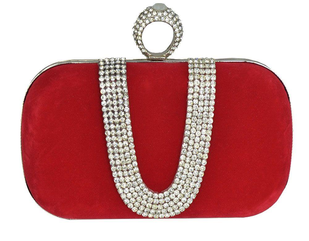 accc22608 Clutch vermelha, bolsa de festa em veludo vermelho no formato retangular,  detalhe com strass