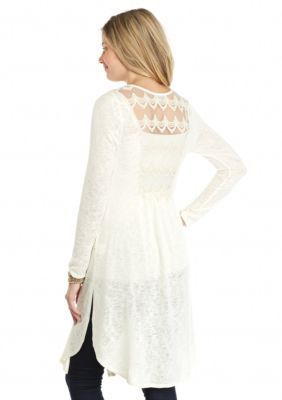 Love the Lace on the back of this ivory duster cardigan ...