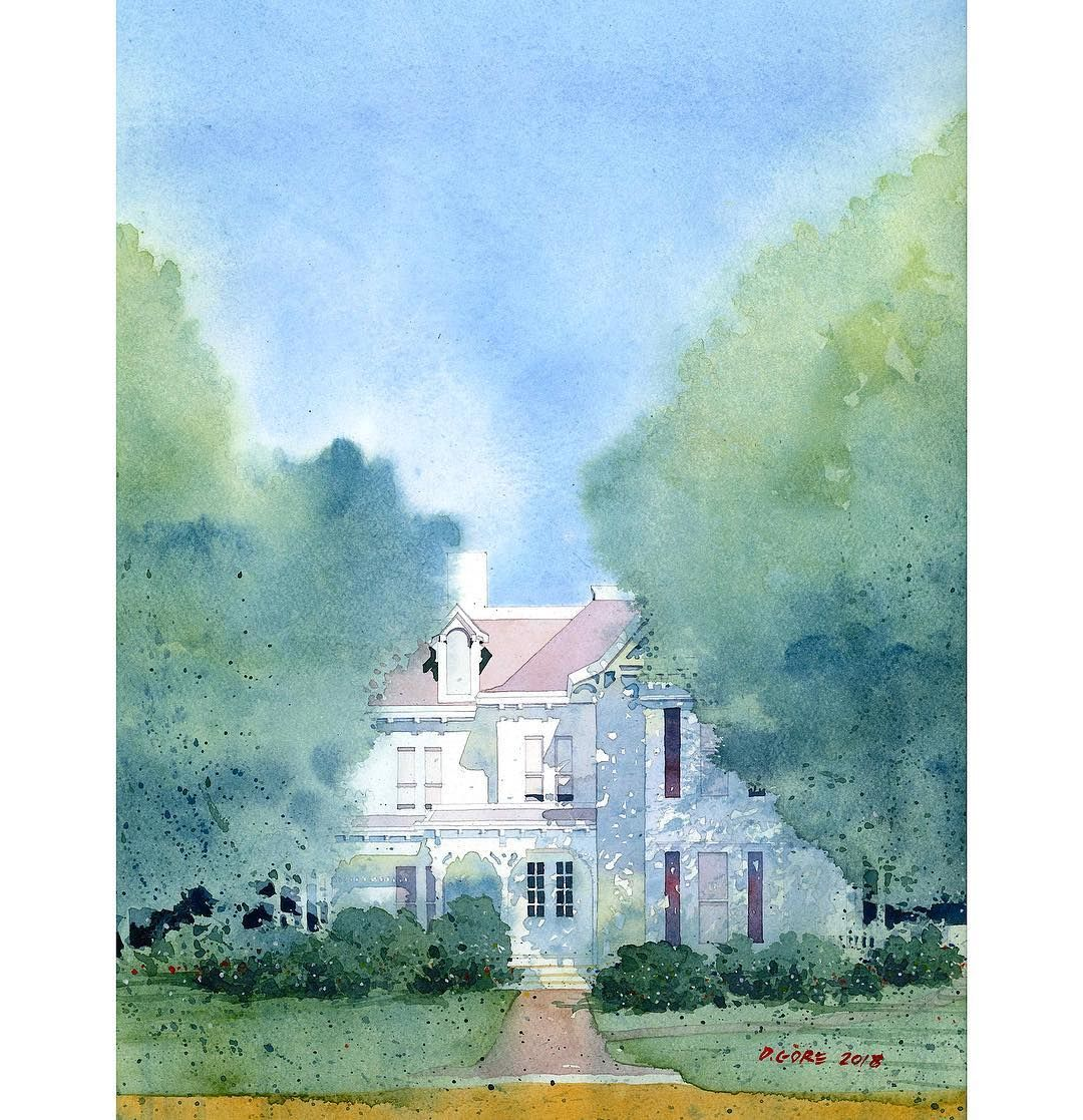 Finished Painting Home Of Harry S Truman In Independence Mo Dongore Dongore50 Painting Watercolor W Painting Watercolour Inspiration Gouache Painting