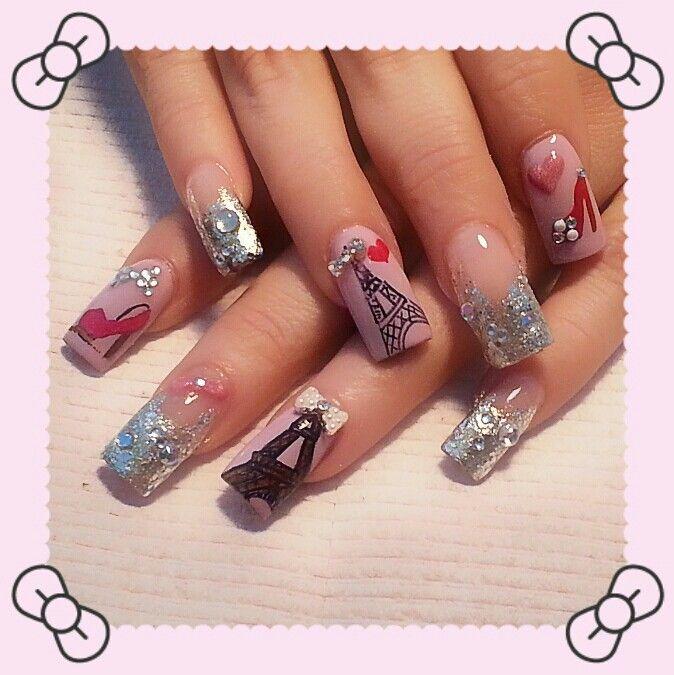 Eiffel Towerhigh Heels Fashion Nails Nails Pinterest