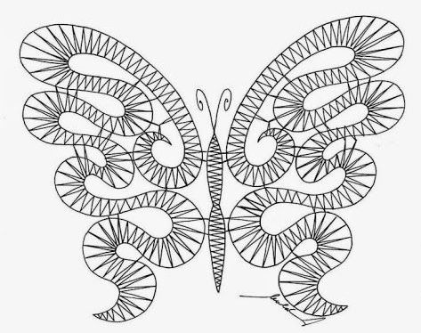 papillon (2)   Dentelle aux fuseaux, Motifs de dentelle aux fuseaux, Fuseaux