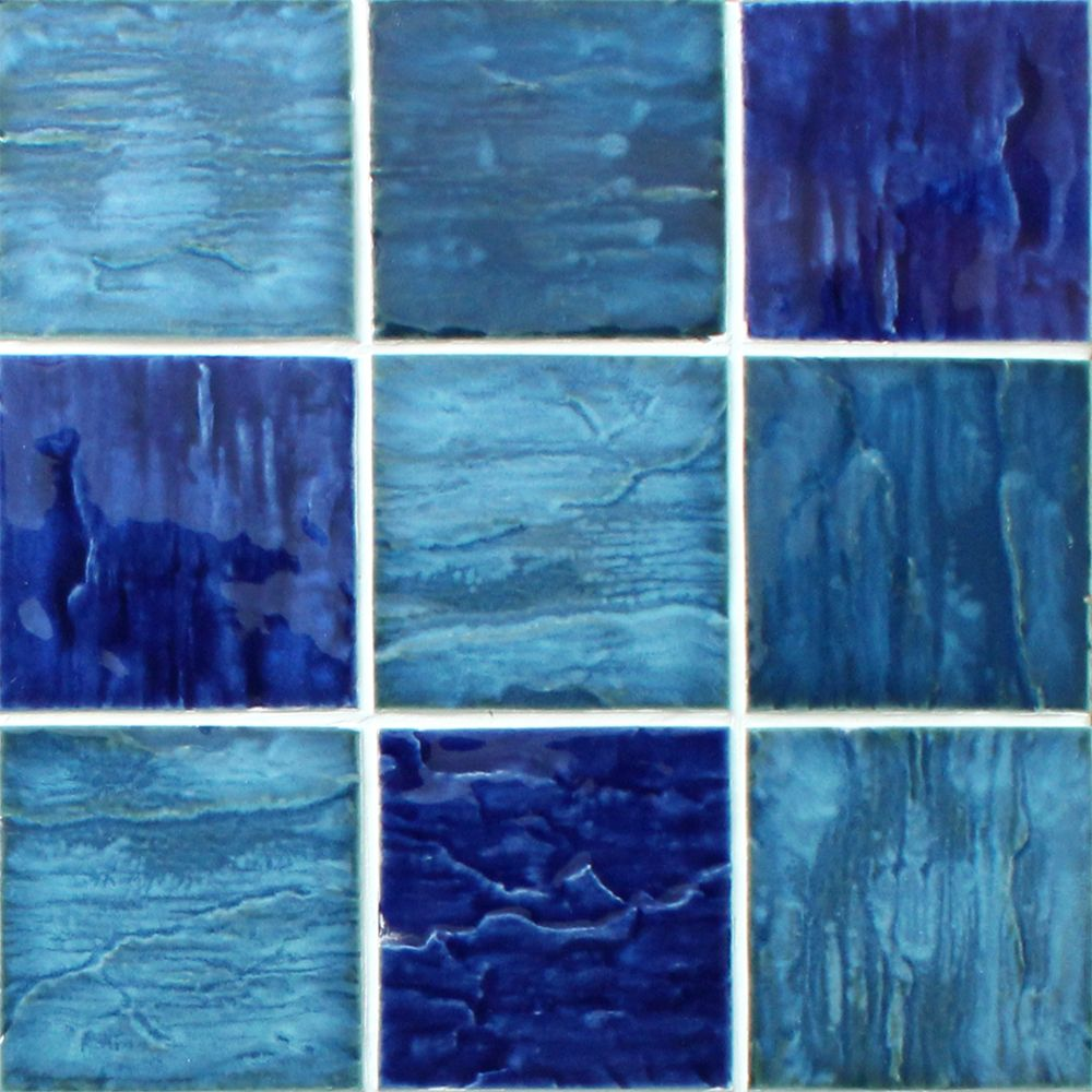 The mosaic wave tile in blue mixed color and large size creates an ...