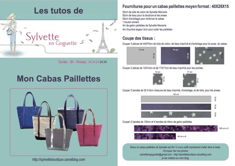 Sylvette Paillettes Format De Moyen Tuto Sac Cabas A l1TJFKc