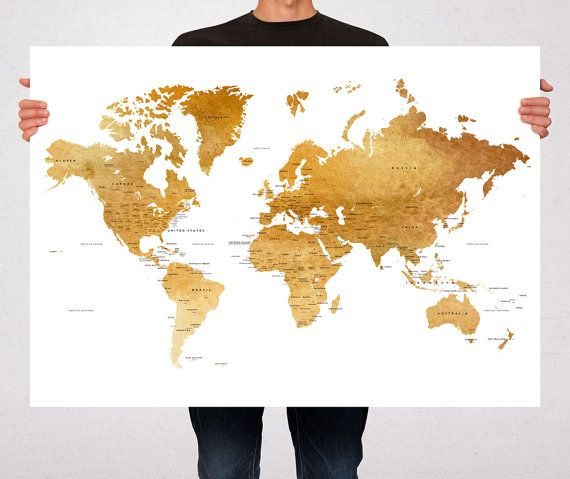 World map art print poster watercolor brown gold political map world map art print poster countriescapitalsusa states names printed on real fine art paper paper arches french cotton archival paper sizes available gumiabroncs Gallery