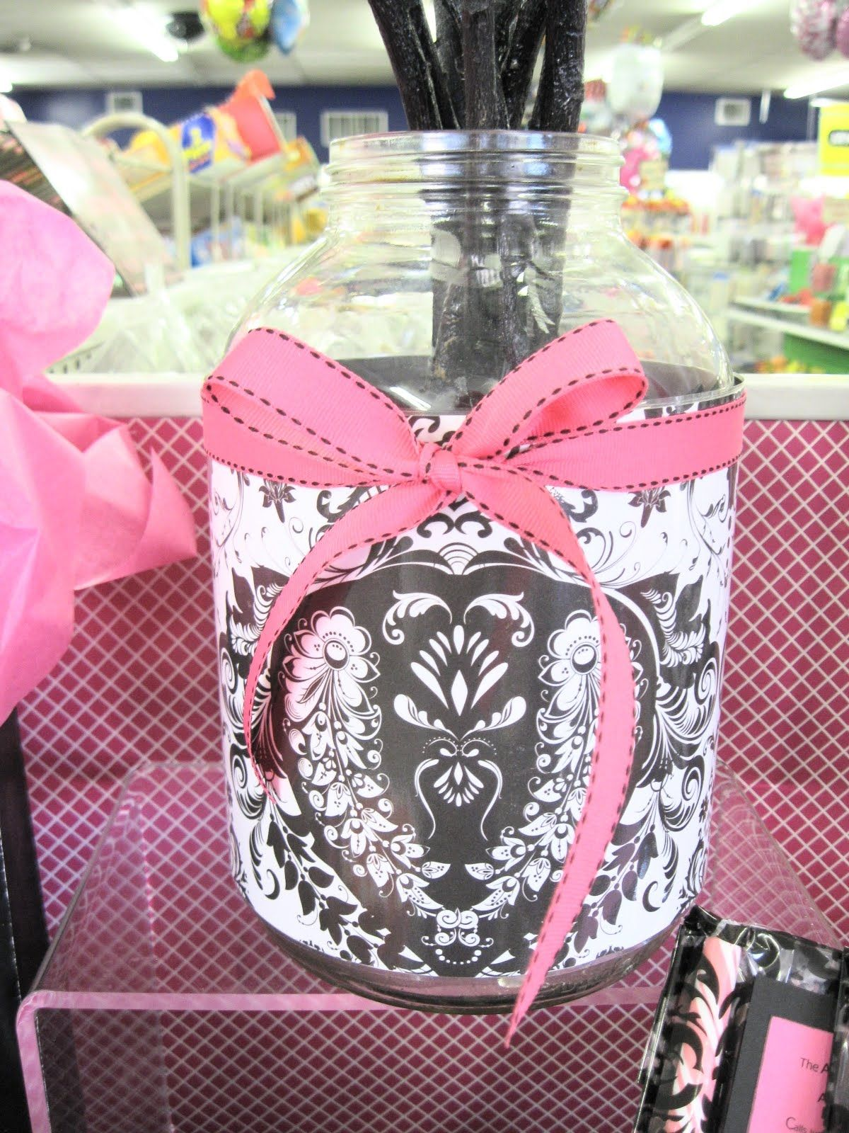damask covered jar (empty pickle, spaghetti or any other recycled ...