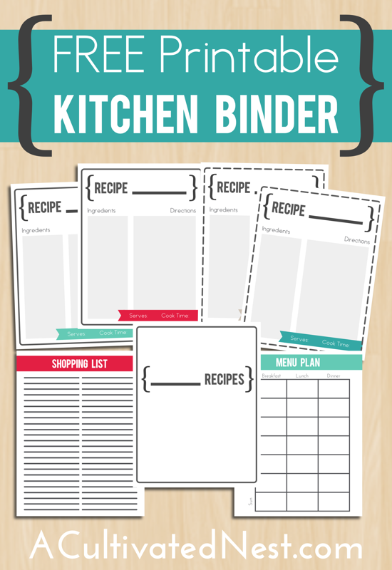 free printable kitchen binder ogt blogger friends pinterest
