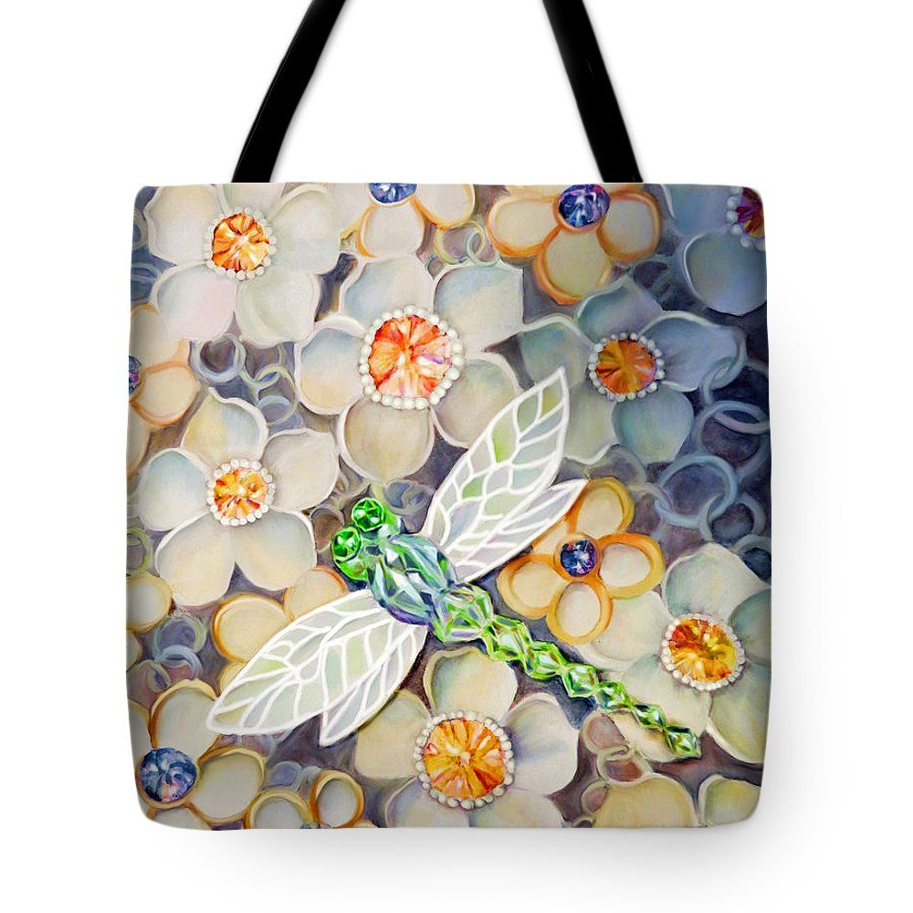 """Dragonfly Jewels Tote Bag (18"""" x 18"""") by Sand And Chi  .  The tote bag is machine washable, available in three different sizes, and includes a black strap for easy carrying on your shoulder.  All totes are available for worldwide shipping and include a money-back guarantee."""
