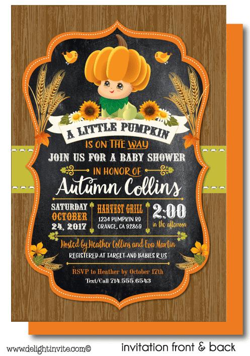Fall Little Pumpkin Baby Shower Invitations Di 4562fc