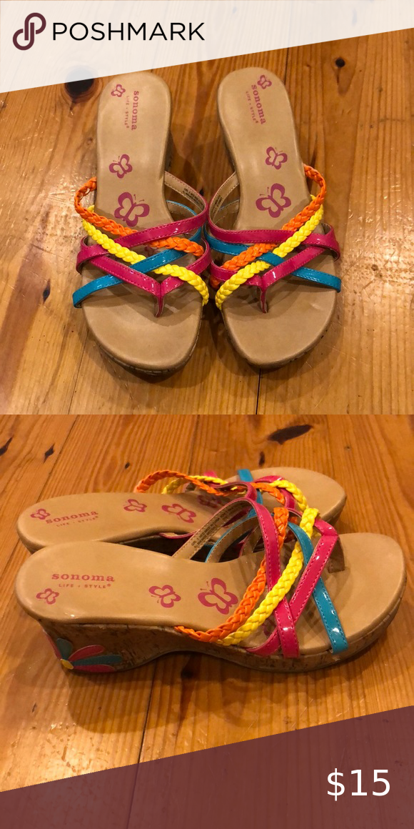 Girls Colorful Wedges In 2020 Colorful Wedges Flip Flop Sandals Sonoma Shoes