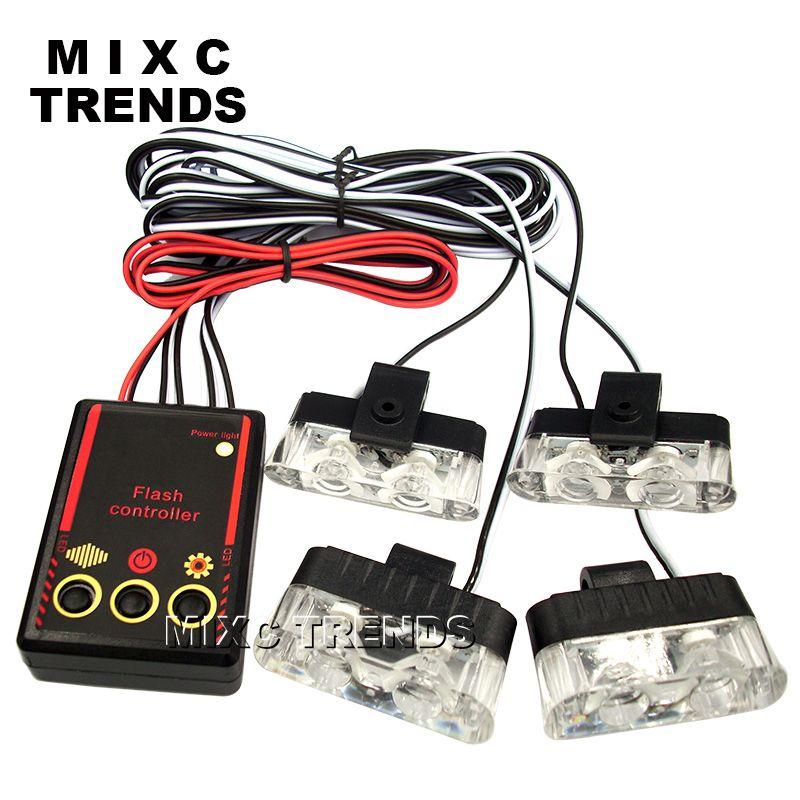 1Set 4 IN 1 led flashing Mini Emergency Vehicle LED Warning