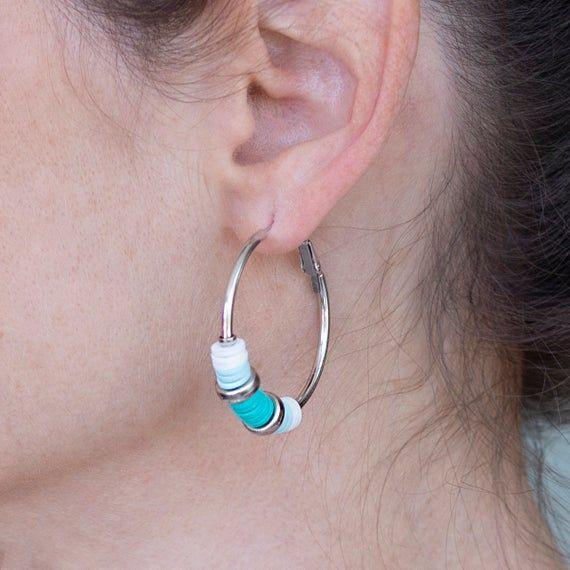 Colourful Hoop Earrings – Silicon Beads Earrings – Beaded Hoopes – Silver Hoops – Tiny Earrings – Beaded Earrings – Silver earrings – Summer