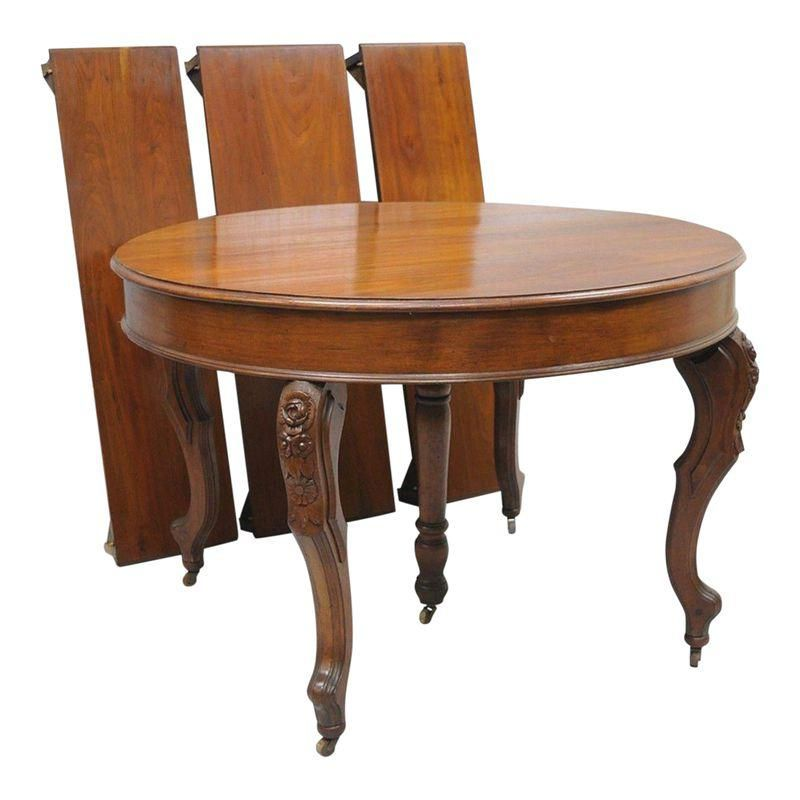Antique Victorian Walnut Carved Round Dining Room Table Extension With 3 Leaves Round Dining Table Dining Table Dining
