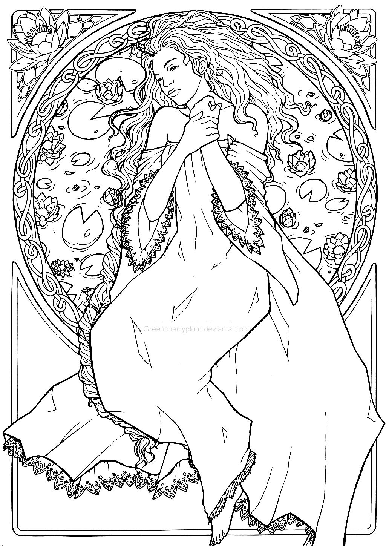 free coloring page coloring dessin inspiration art nouveau 2
