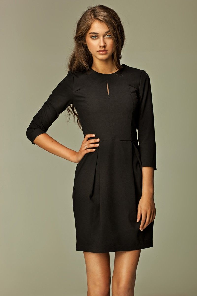 Robe noire cintree manches longues