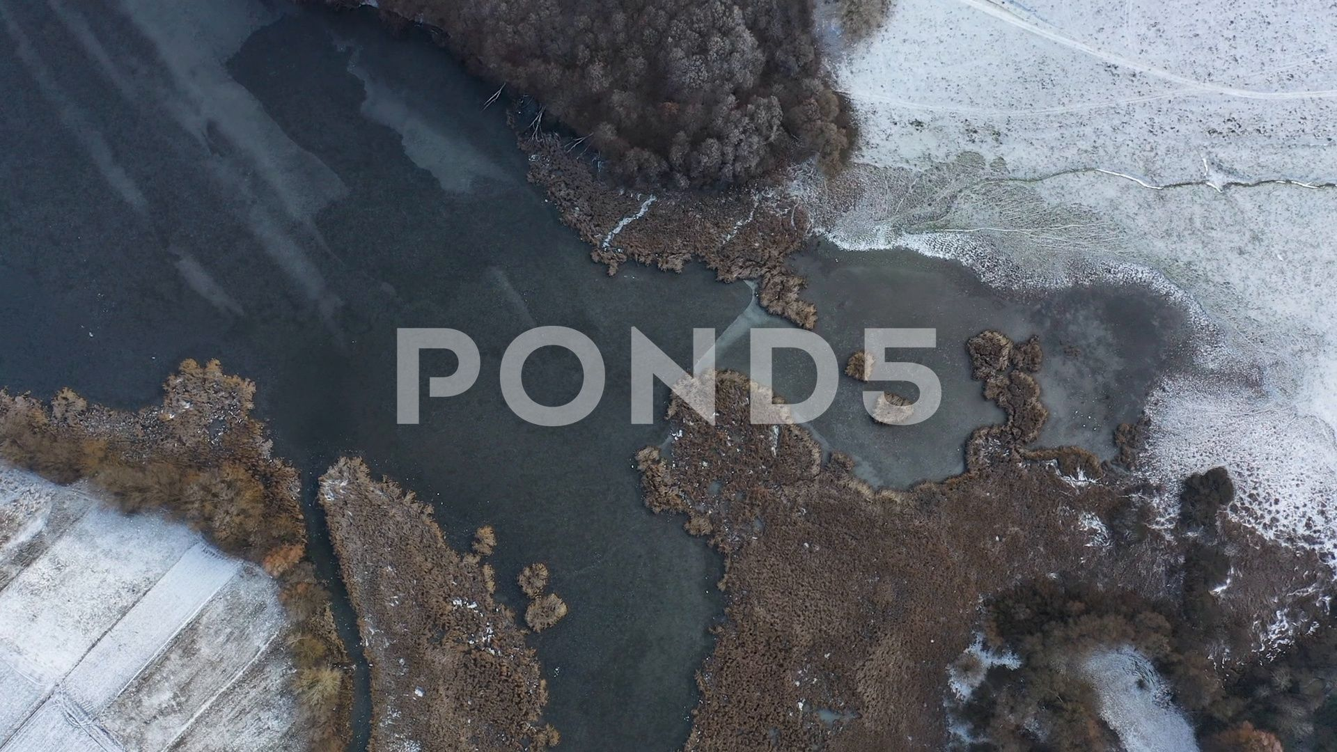 A small river and a swamp in the winter season Drone view swampwintersmallriver