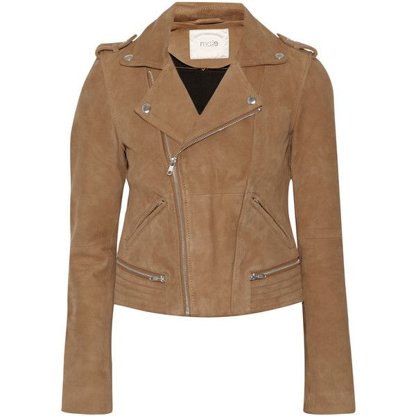 Maje Basalt suede biker jacket, Brown, Women's, Size: 40 (565 CAD) ❤ liked on Polyvore featuring outerwear, jackets, tops, coats, suede leather jacket, brown jacket, brown biker jacket, brown moto jacket and biker jackets