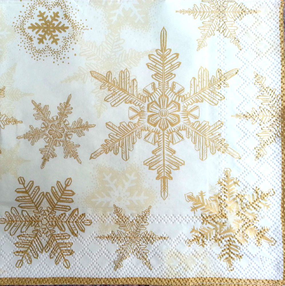 4 x Single Vintage Table Paper Napkins Craft GOLD For  Decoupage