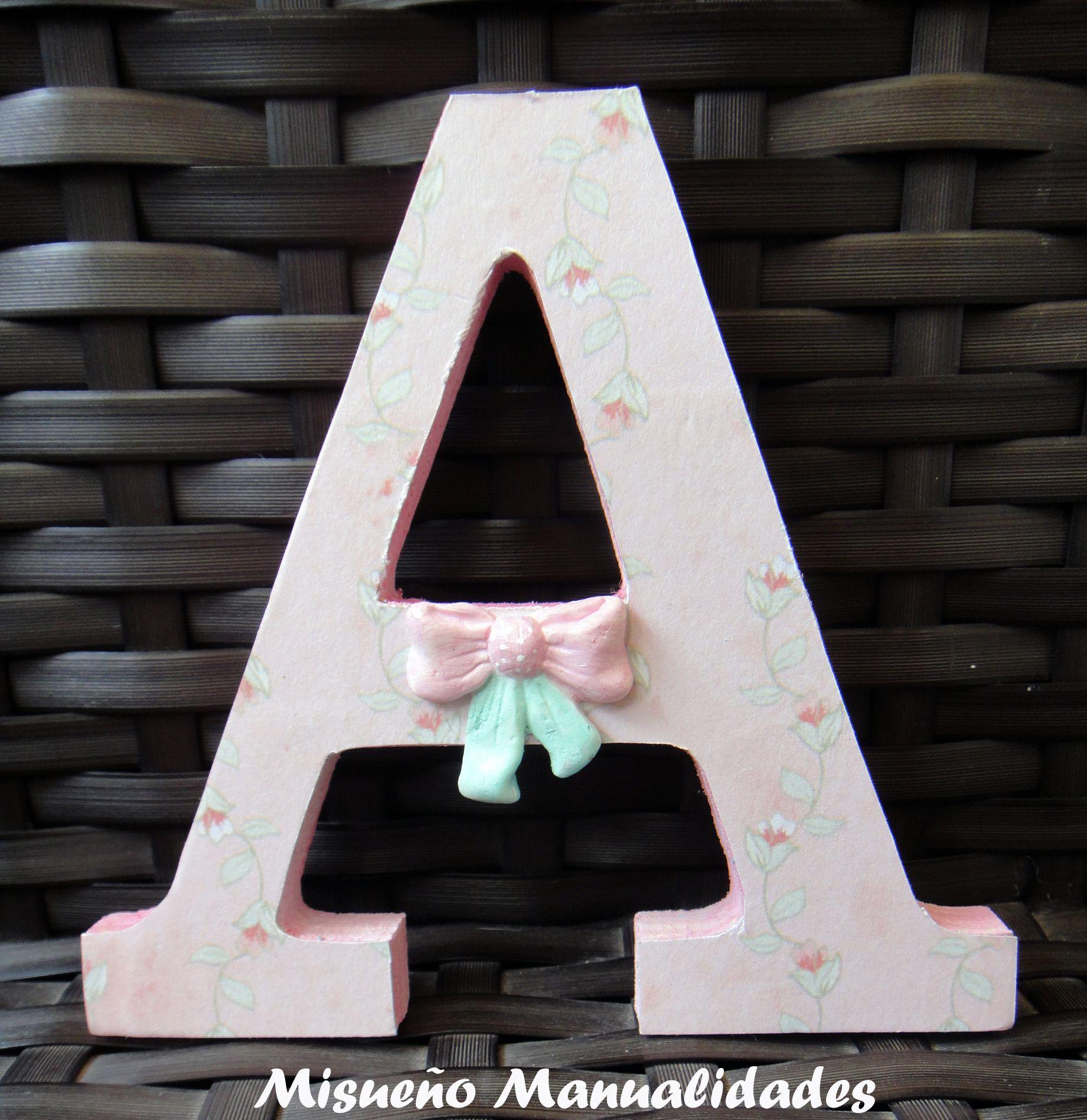 Letra grande de madera de artemio decorada con papel - Pintura para madera ...