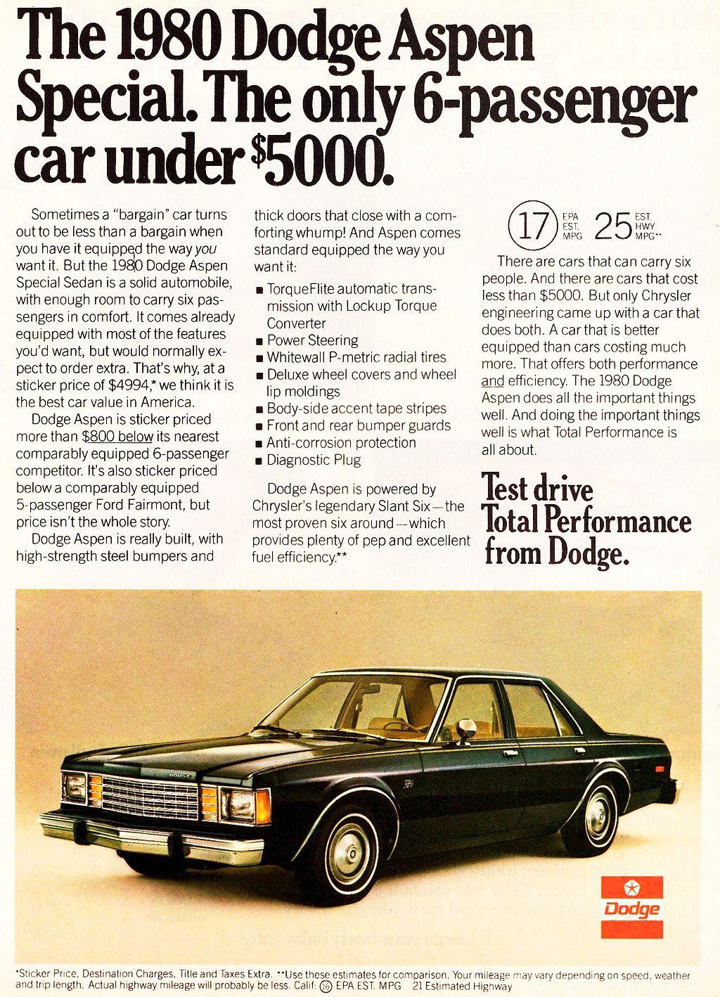 1980 dodge aspen reklamı klasik otomobil bugün çevrimiçi | En İyi ...
