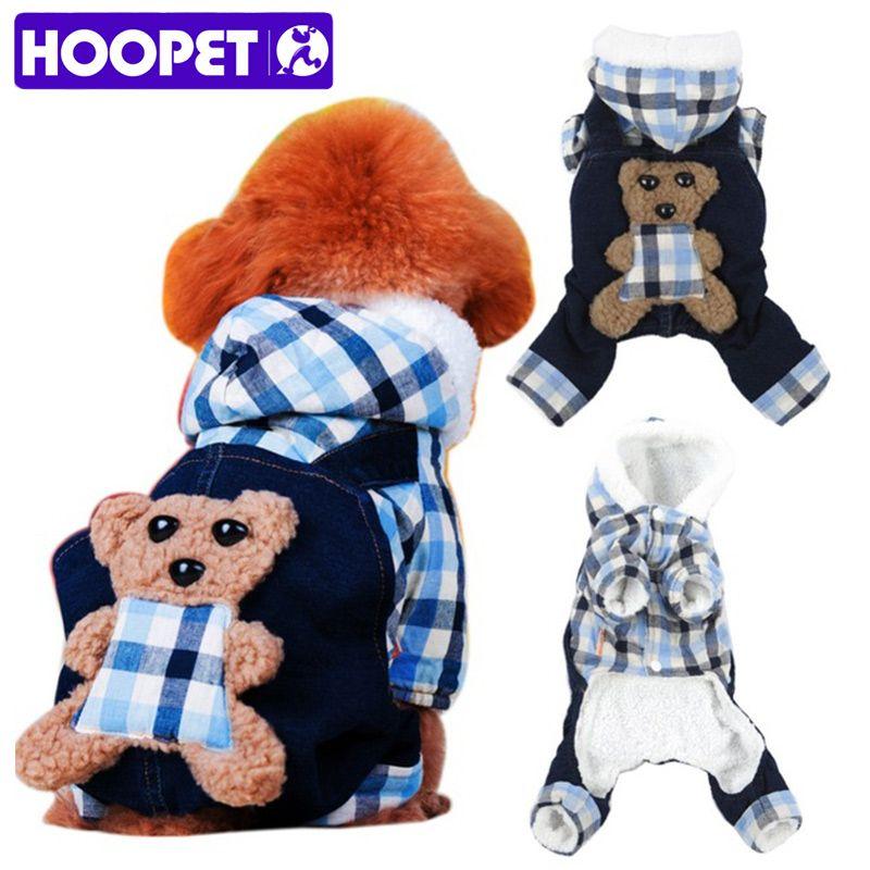 HOOPET Sweet Bear Plaid Winter Dog Warm Hoodie Denim Plush Coat Pet Four-leg Jumpsuit Clothes