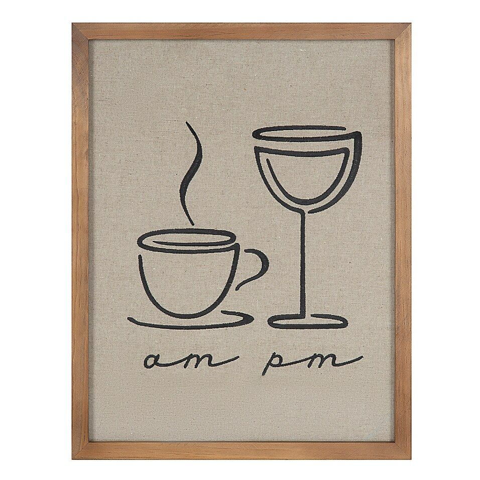 Uniek Am Coffee Pm Wine Embroidered Framed Wall Art Bed Bath Beyond In 2020 Wine Wall Art Kitchen Decor Wall Art Kitchen Wall Art Diy