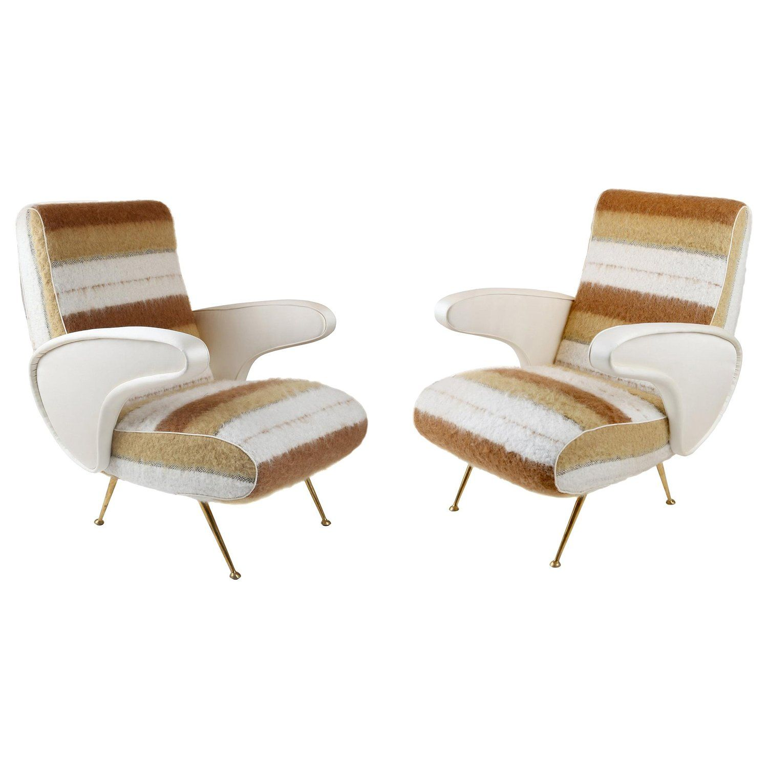 Pair Of Mid Century Modern Italian Chairs Upholstered In Textured