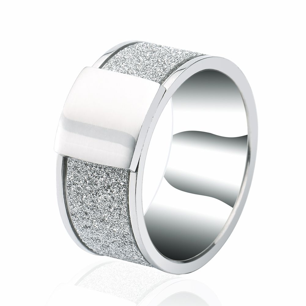 Epinki 1 Pair Stainless Steel Silver Matte Polished Wedding Engagement Ring Sets for Women and Men