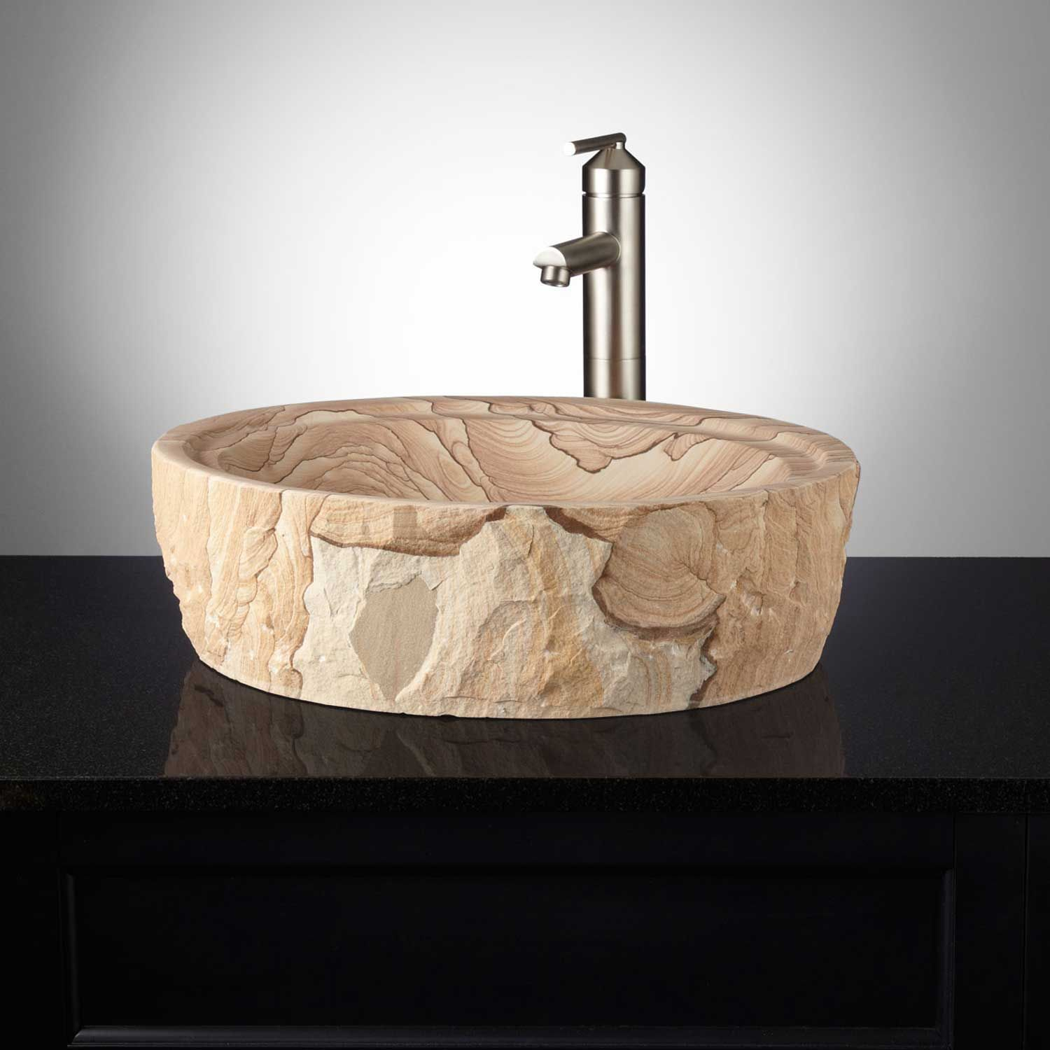 Sandstone's characteristic light brown and tan swirls distinguish this outstanding vessel sink, which is further enhanced by a chiseled exterior. | Sandstone Vessel Sink In Chiseled Edge | Signature Hardware #homedecor #decorideas