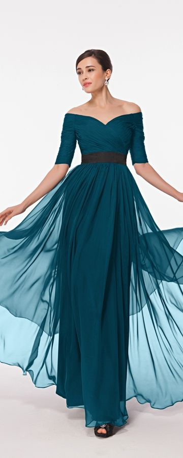 fcf5a2f620bb Modest prom dress with sleeves teal prom dresses elegant off the shoulder  prom gowns evening dresses formal dress