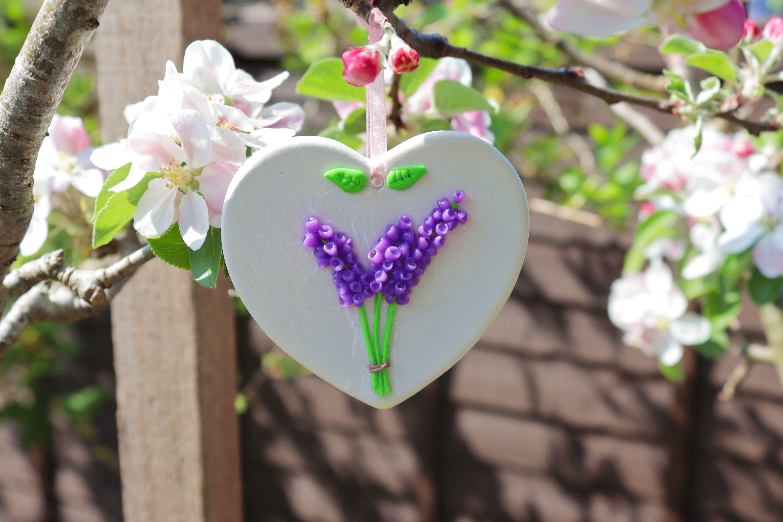 #polymerclay #lavender #ceramicheart #hangingdecoration