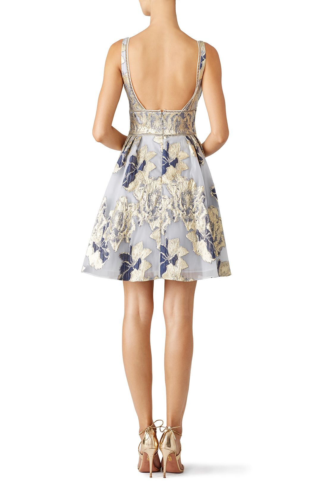 Rent Metallic Floral Cocktail Dress by Marchesa Notte for $105 only ...