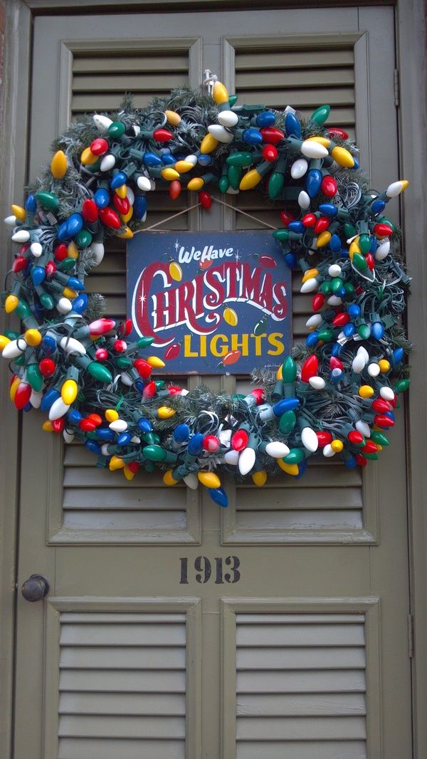 christmas wreath made with old lights outdoor christmas lights