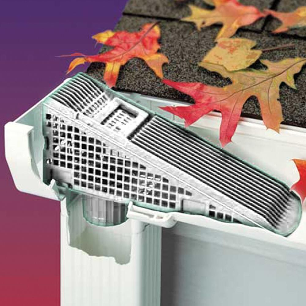 The Wedge 9 5 In White Downspout Screen Gutter Guard 4