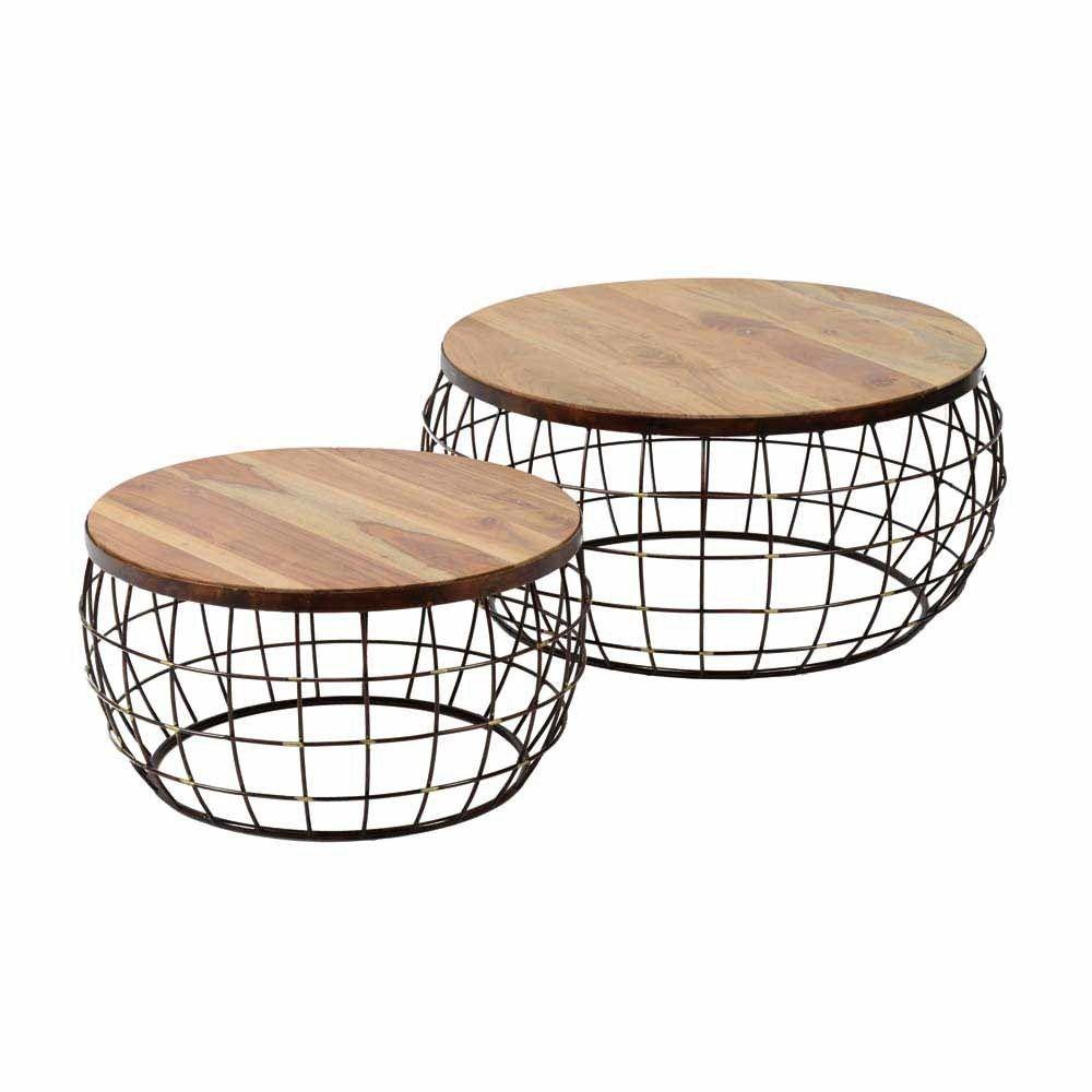 Design Beistelltisch Set Aus Mangobaum Massivholz Metall Kupferfarben 2 Teilig Jetzt Bestellen Unter Https Moe Sofa Tisch Couchtisch Set Couchtisch Metall