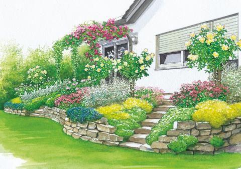 Terrassenbeete auf hohem niveau haven pinterest - Rosenbeet ideen ...
