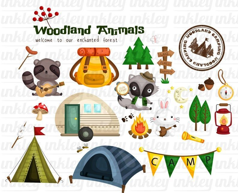 Animal And Camping Clipart Cute Animal Forest And Camping Etsy In 2021 Camping Clipart Clip Art Cute Animal Clipart