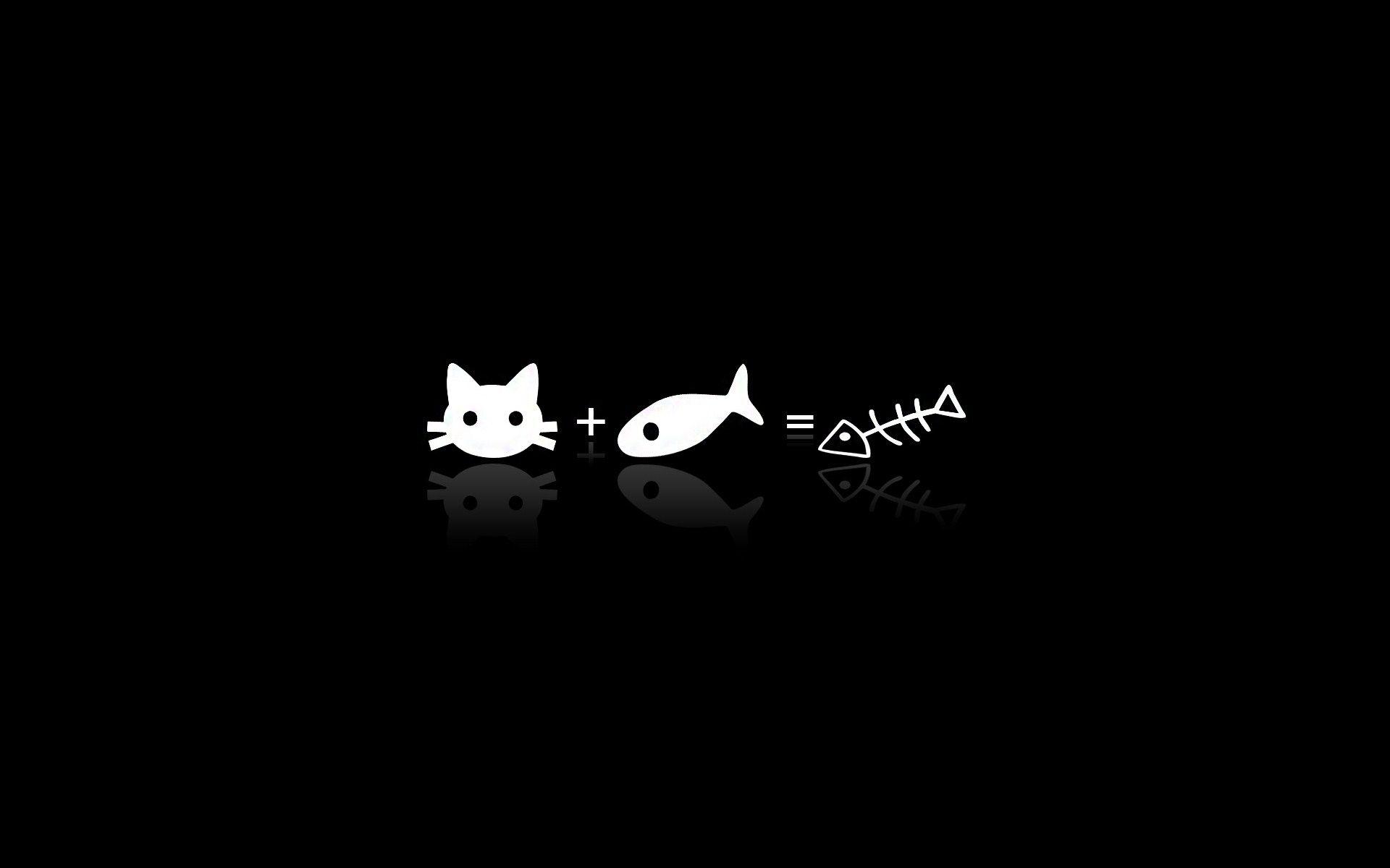 Vector Cat Fish Cute Black Wallpaper Aesthetic Tumblr Backgrounds Desktop Wallpaper Black