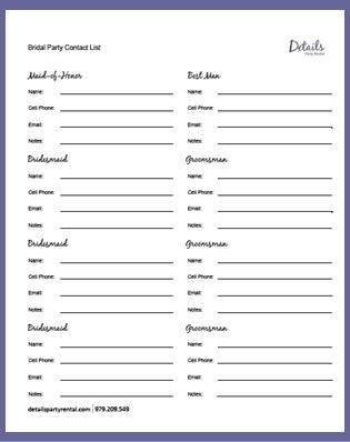 Wedding Party Contact List Template Quelles astuces pour organiser - printable wedding guest list template