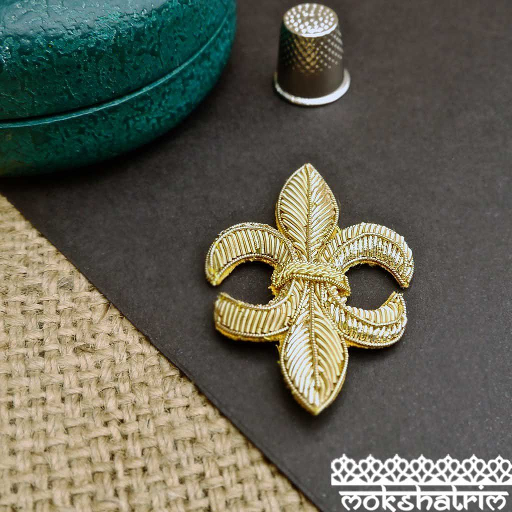 Gold Goldwork Applique.SOLD AS SINGLE APPLIQUESWidth: 42mm Height: 70mm