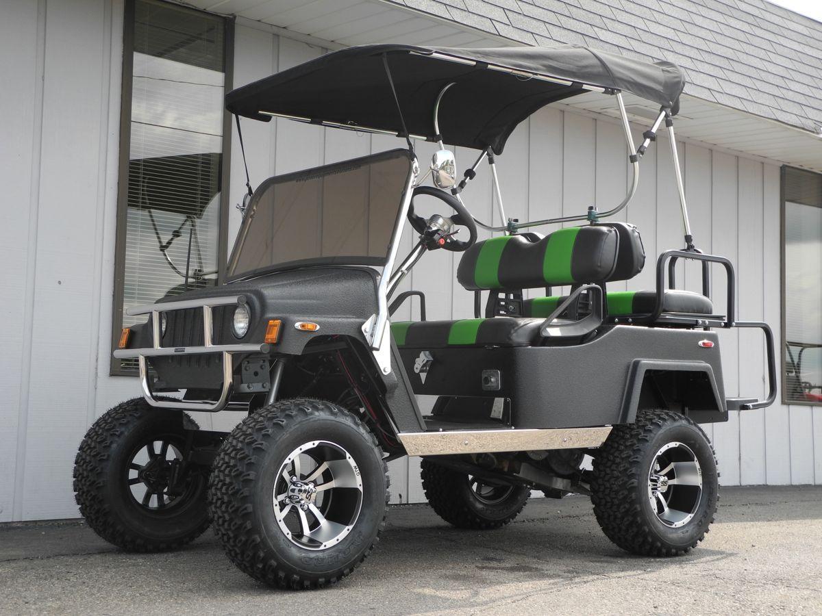 This Super Cool Custom E Z Go Street Ready Gas Golf Car Features A Jeep Body Kit Line X Finish C Golf Carts For Sale Custom Golf Carts Street Legal Golf Cart