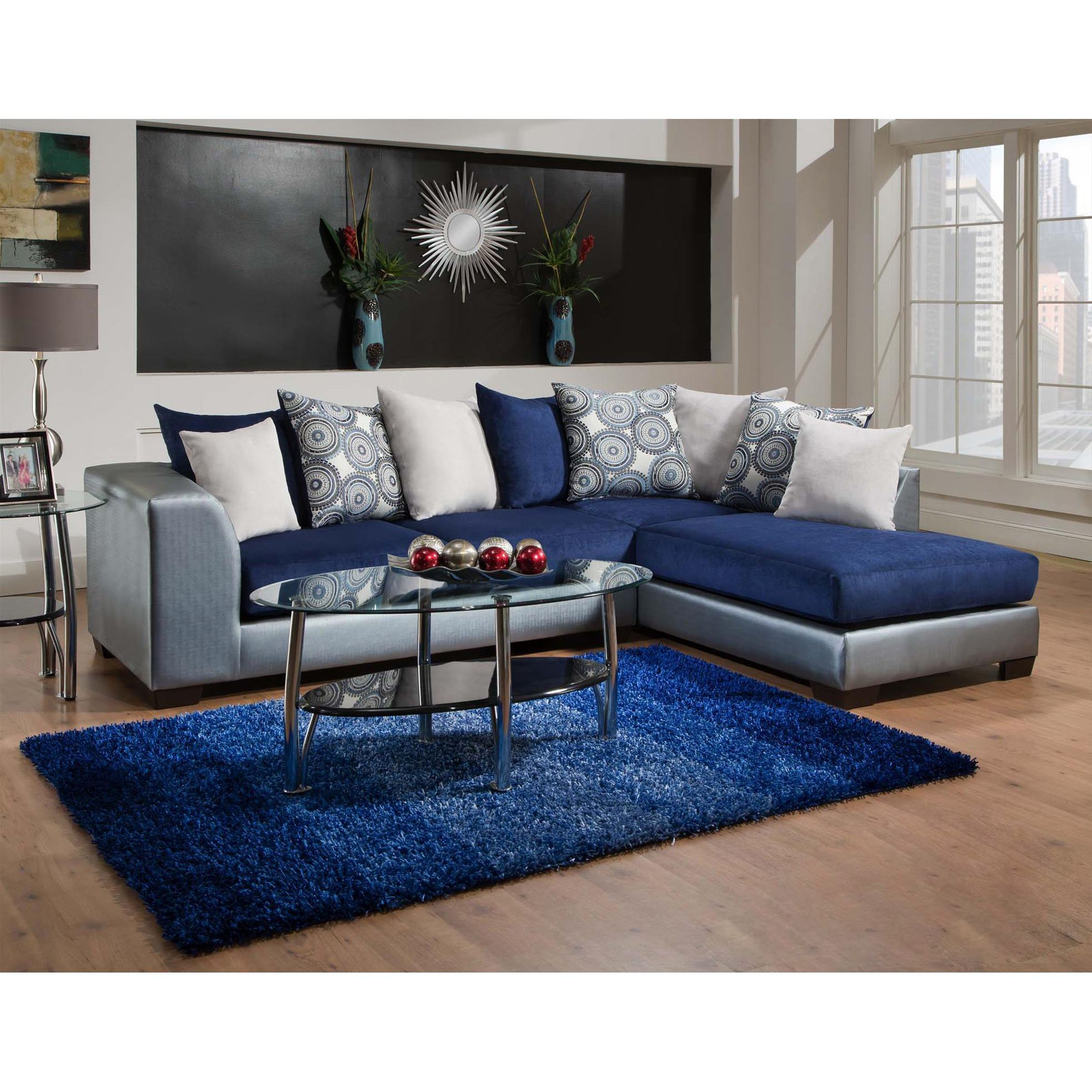 Sofa Trendz Amy Blue MicrofiberPolyurethane Sectional