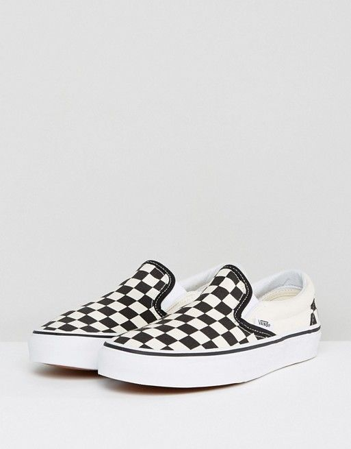 a3d0e481d Vans Classic slip on sneakers in checkerboard in 2019