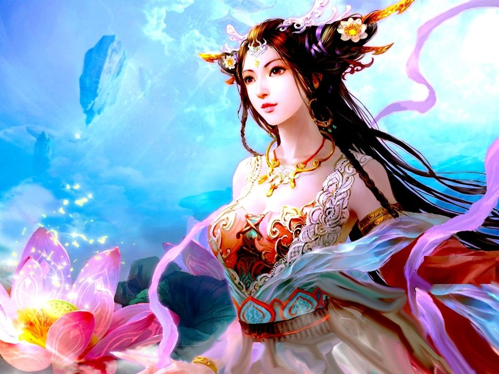Fairy with blonde hair standing in the water &amp- pink lotus flowers ...