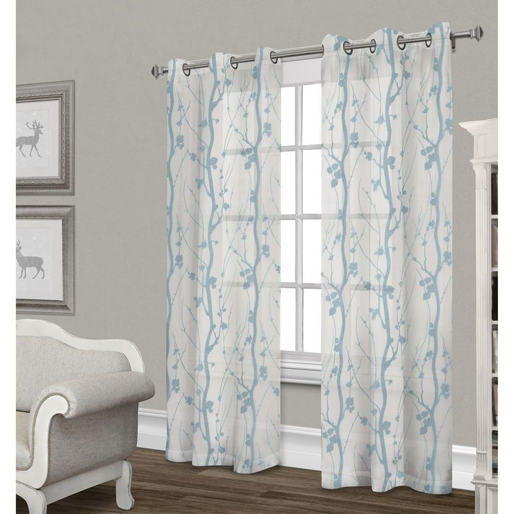 Corfu Sheer Curtain Panel White Teal 84 In White Paneling