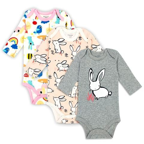 2a3fe0ce4 3 pieces/lot 100% Cotton Baby Bodysuit Newborn Cotton Body Baby Long Sleeve  Underwear Infant Boys Girls Clothes Baby's Sets