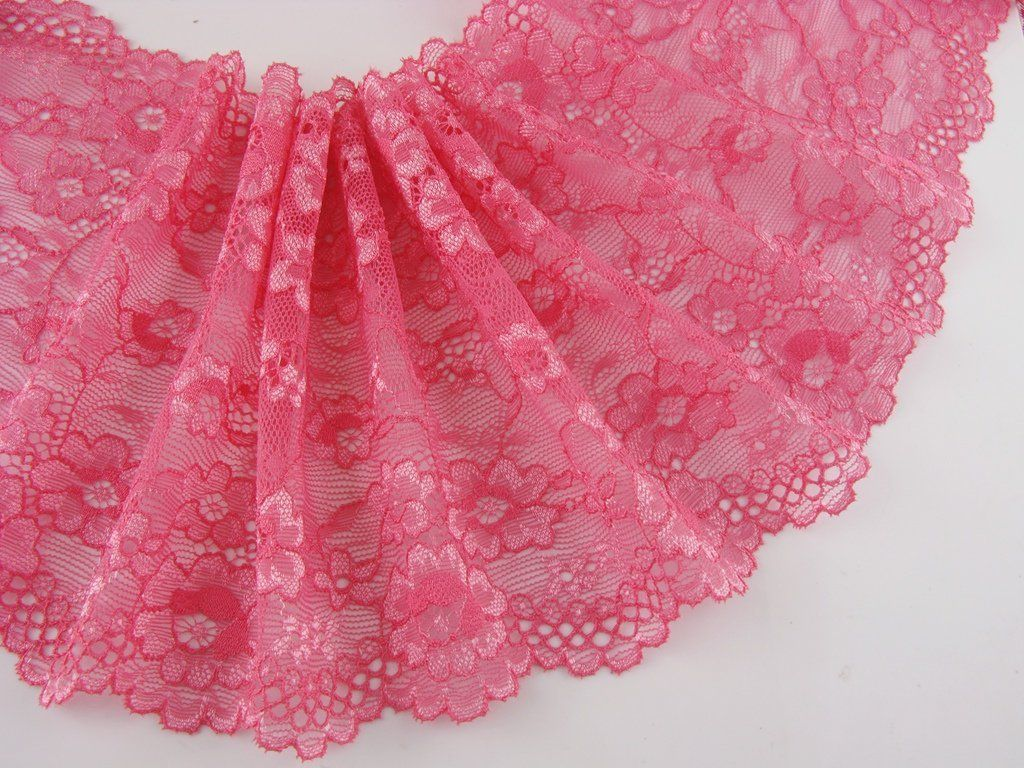 10 Yards 6 inch wide Delicate Dark Pink Elastic/Spandex Soft Flower Floral lace trim DIY/Doll dress/Wedding Sewing *** You can get additional details at the image link.