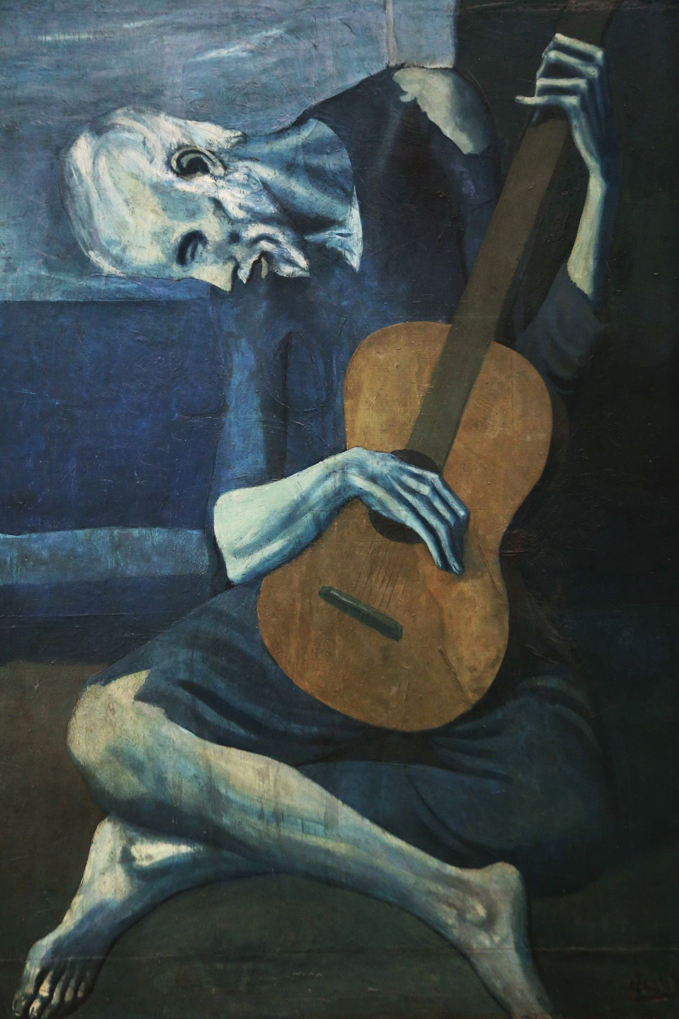 The Old Guitarist By Spanish Artist Pablo Picasso 1903 1904 Oil On Panel Expressionist Style Painting Of An Pablo Picasso Artwork Top Paintings Painting